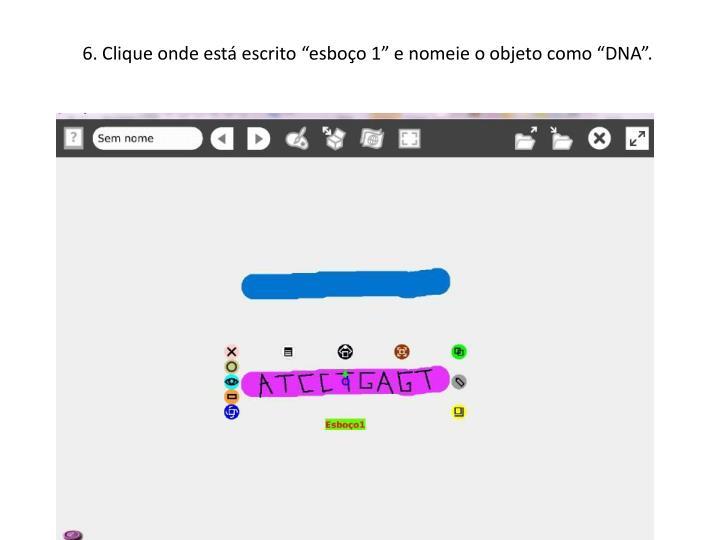 """6. Clique onde está escrito """"esboço 1"""" e nomeie o objeto como """"DNA""""."""