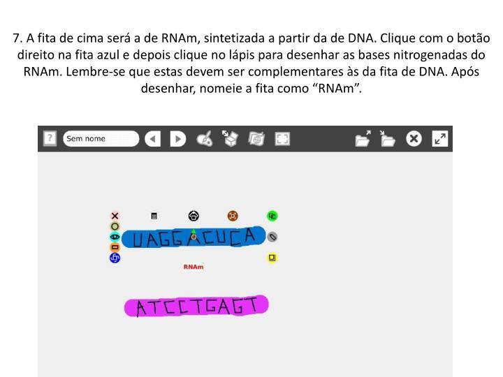 """7. A fita de cima será a de RNAm, sintetizada a partir da de DNA. Clique com o botão direito na fita azul e depois clique no lápis para desenhar as bases nitrogenadas do RNAm. Lembre-se que estas devem ser complementares às da fita de DNA. Após desenhar, nomeie a fita como """"RNAm""""."""