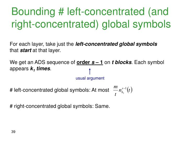 Bounding # left-concentrated (and right-concentrated) global symbols