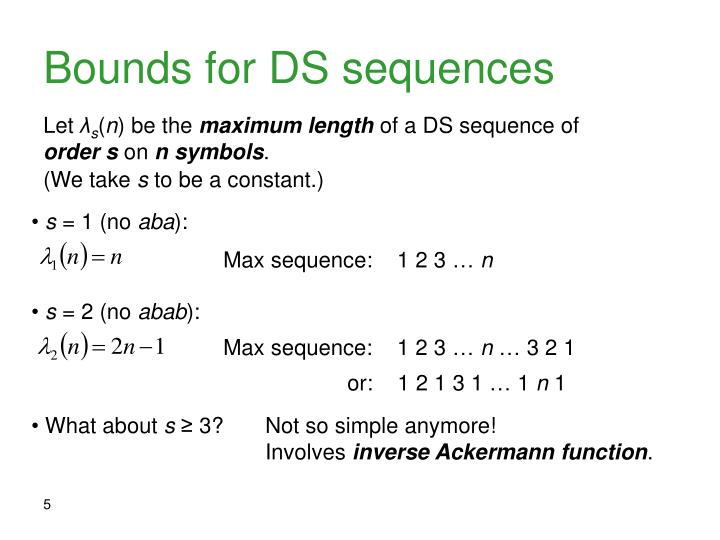 Bounds for DS sequences
