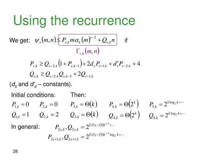 Using the recurrence