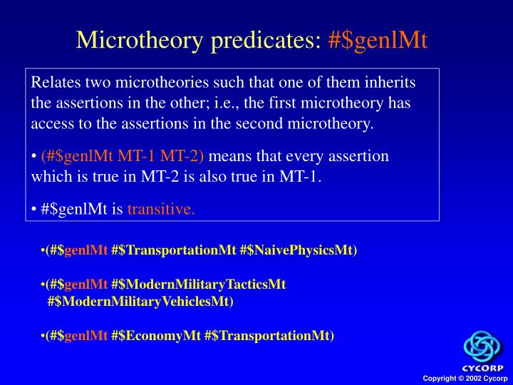 Microtheory predicates: