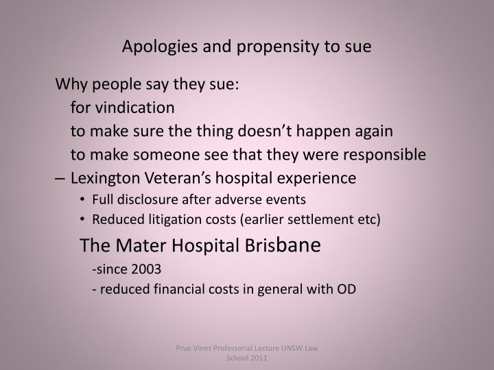 Apologies and propensity to sue