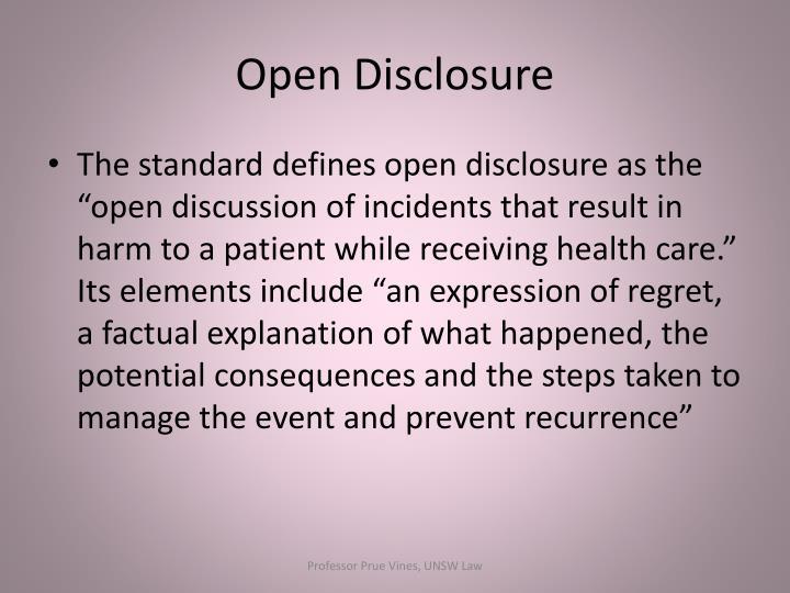 Open disclosure