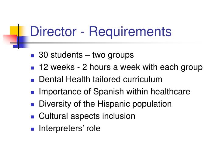 Director - Requirements