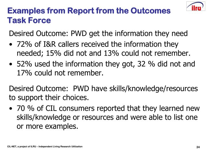 Examples from Report from the Outcomes Task Force
