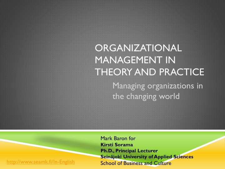 management theories and practice Enterprise risk management: theory and practice  we are grateful for comments from don chew, michael hofmann, joanne lamm-.