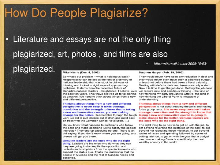 How Do People Plagiarize?