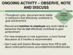 ongoing activity observe note and discuss