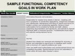 sample functional competency goals in work plan