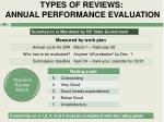 types of reviews annual performance evaluation