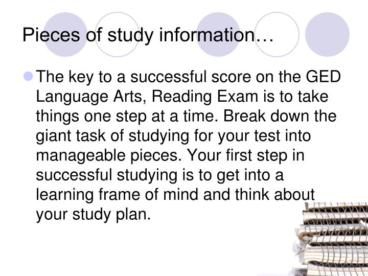 Pieces of study information