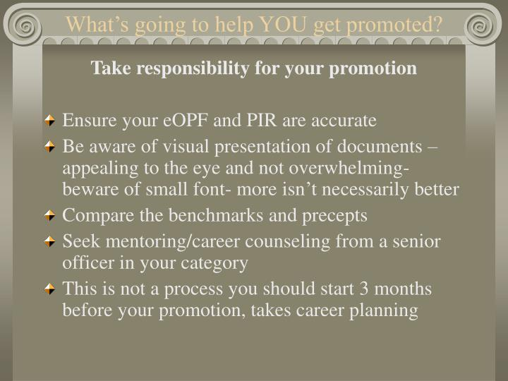 What's going to help YOU get promoted?