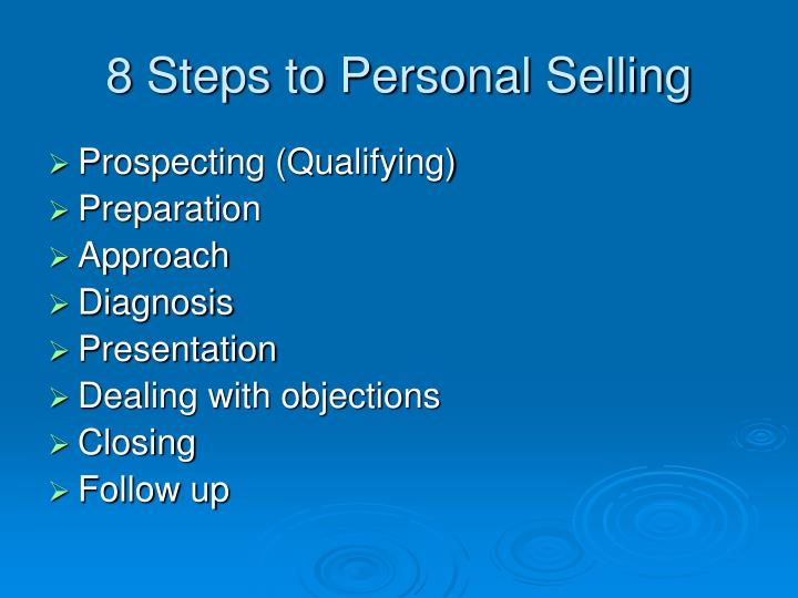 8 Steps to Personal Selling