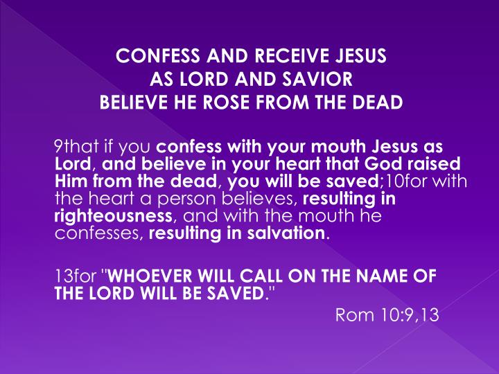 CONFESS AND RECEIVE JESUS