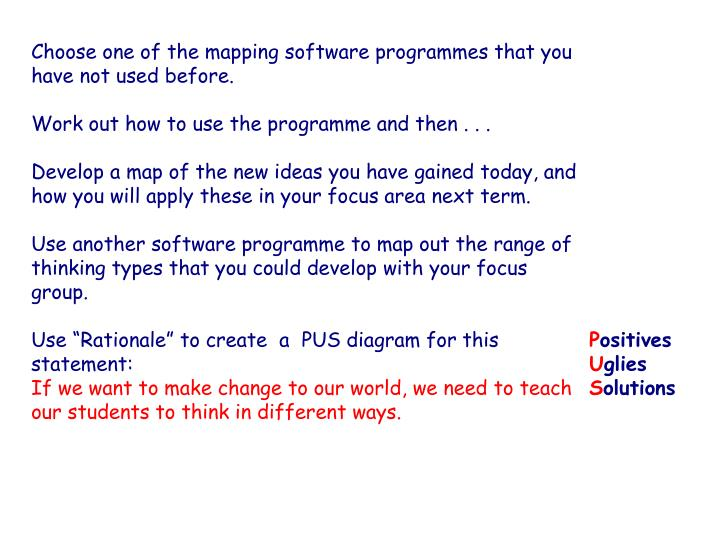 Choose one of the mapping software programmes that you have not used before.