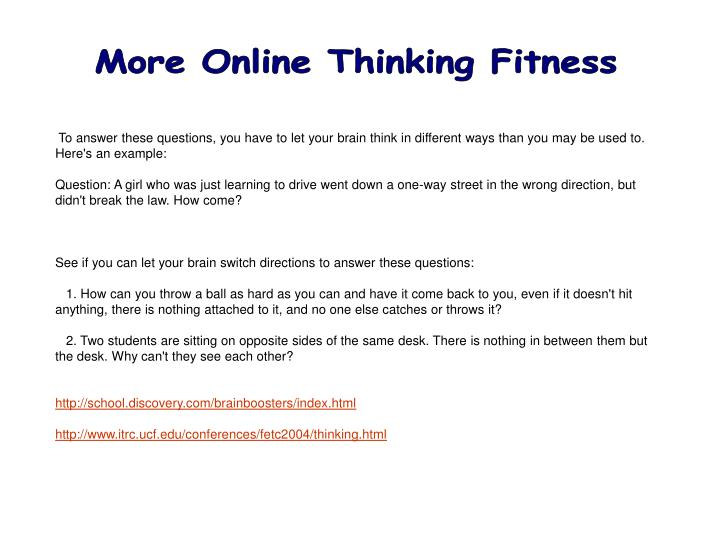 More Online Thinking Fitness