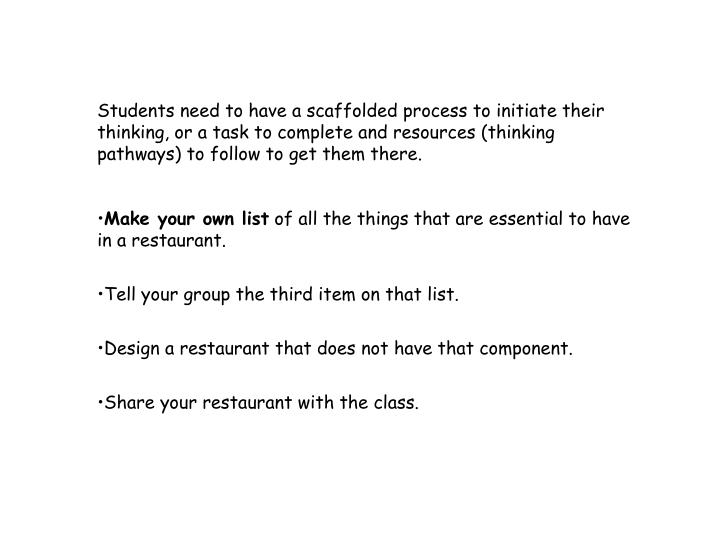 Students need to have a scaffolded process to initiate their thinking, or a task to complete and resources (thinking pathways) to follow to get them there.