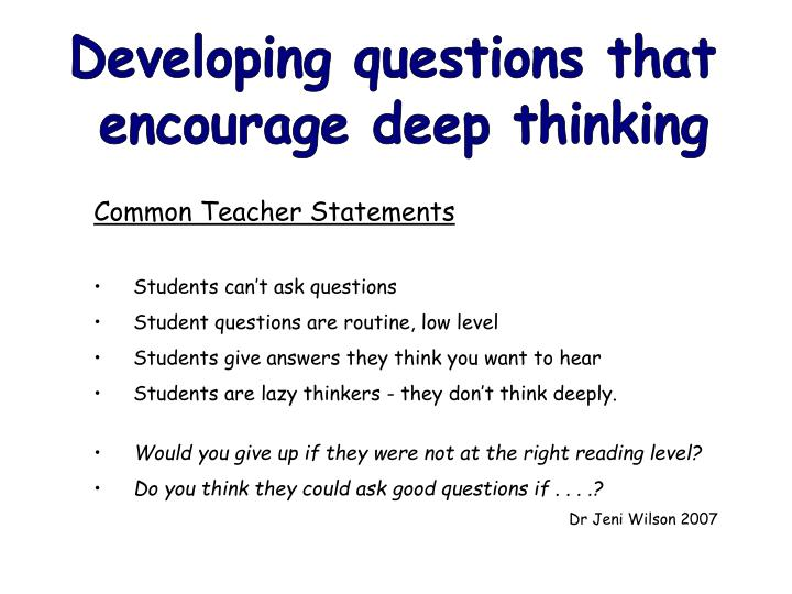Developing questions that
