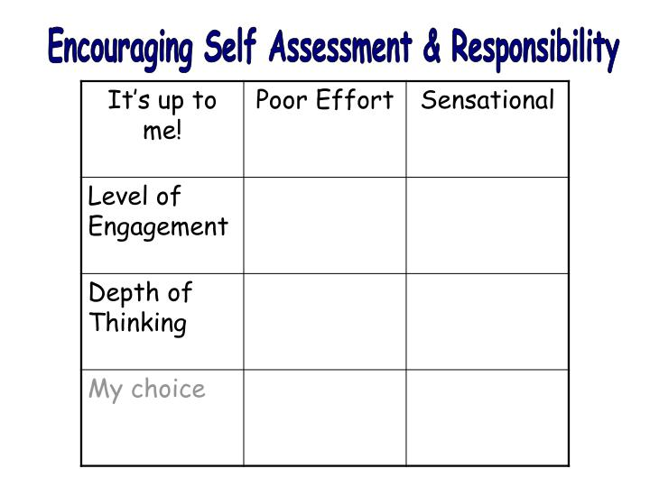 Encouraging Self Assessment & Responsibility