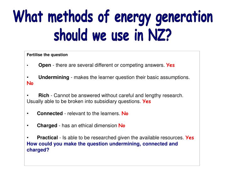 What methods of energy generation
