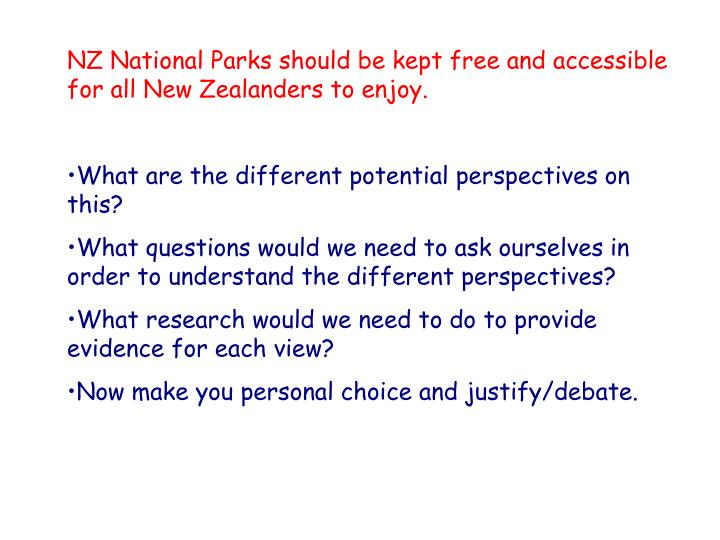 NZ National Parks should be kept free and accessible for all New Zealanders to enjoy.