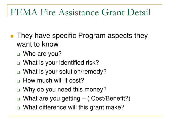 FEMA Fire Assistance Grant Detail