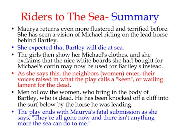play riders to the sea This is most effective when first seen, in riders to the sea the play, set in the aran islands, is a grim look at aging maurya (marie mullen),.