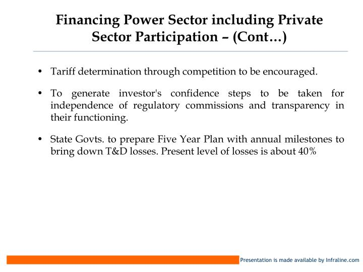 Financing Power Sector including Private Sector Participation – (Cont…)