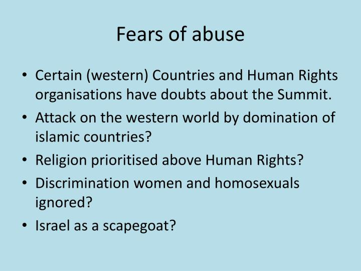 Fears of abuse