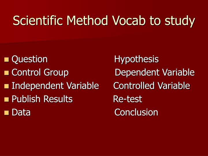 Scientific Method Vocab to study