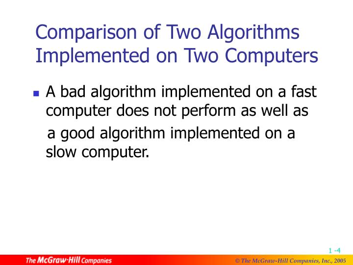 Comparison of Two Algorithms Implemented on Two Computers