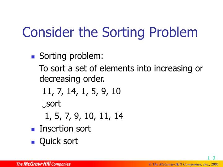 Consider the sorting problem