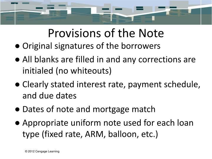 Provisions of the Note