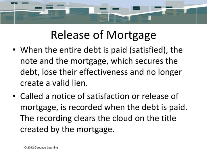 Release of Mortgage