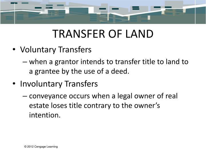TRANSFER OF LAND