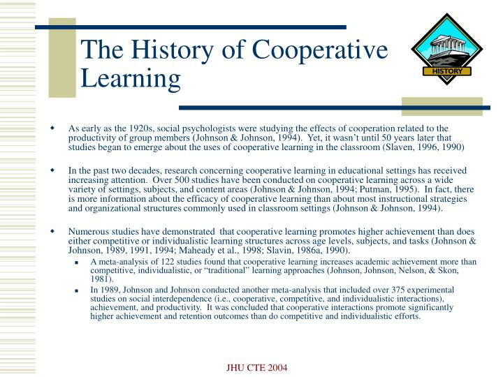 The history of cooperative learning