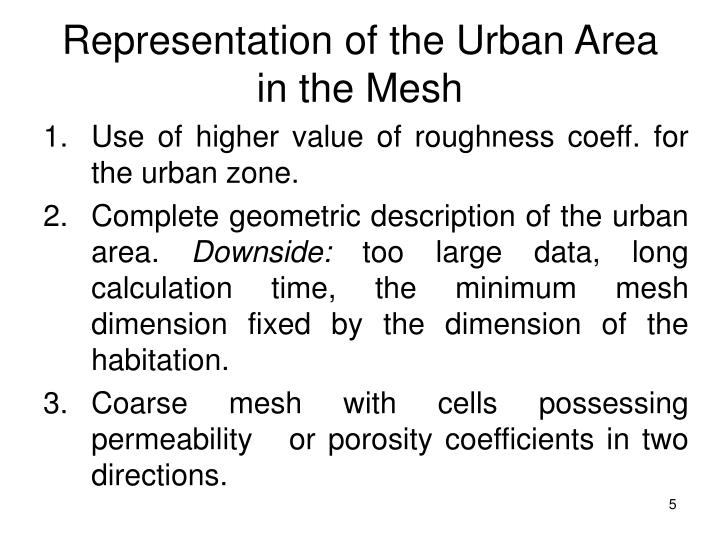Representation of the Urban Area in the Mesh