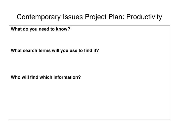 Contemporary Issues Project Plan: Productivity