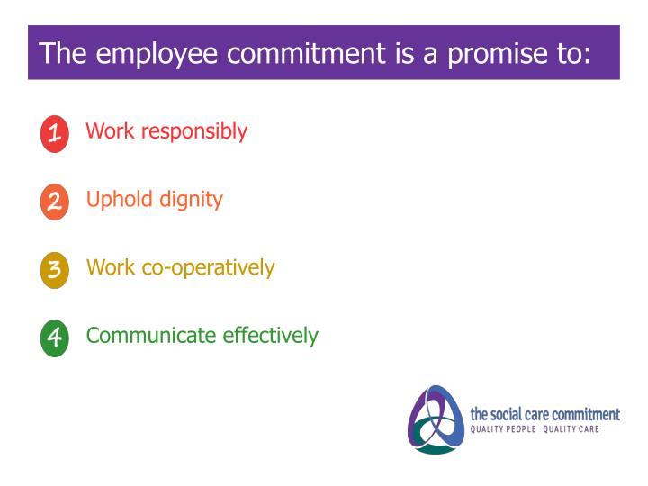 The employee commitment is a promise to: