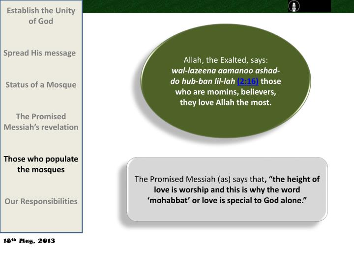 Establish the Unity of God