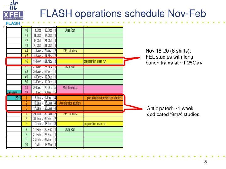 Flash operations schedule nov feb