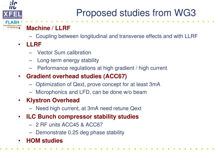 Proposed studies from wg3