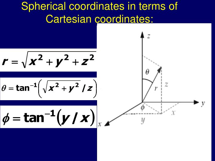Spherical coordinates in terms of Cartesian coordinates: