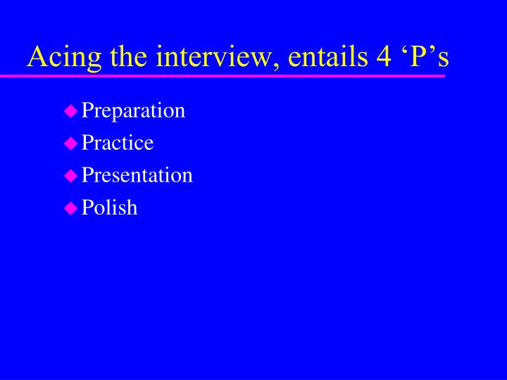 Acing the interview, entails 4 'P's