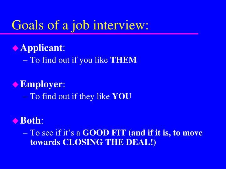 Goals of a job interview: