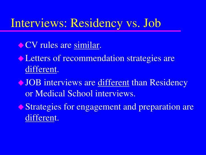Interviews: Residency vs. Job