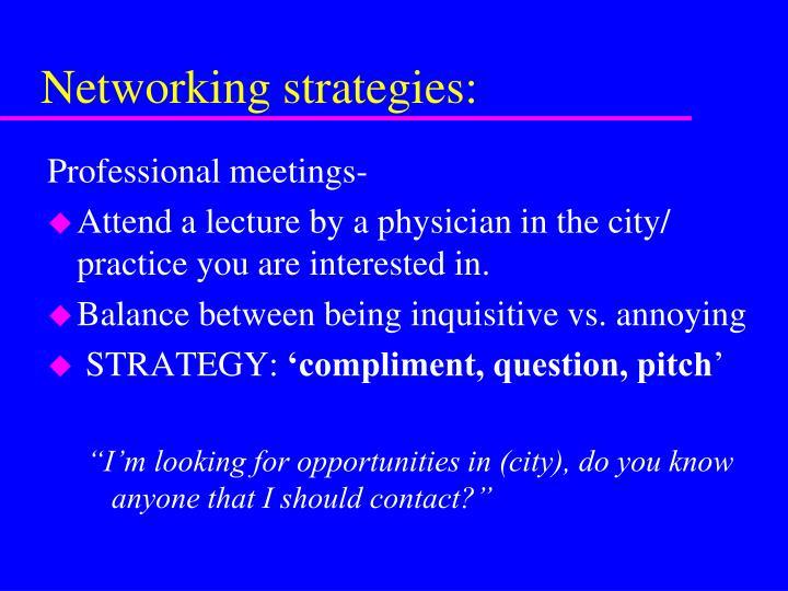 Networking strategies: