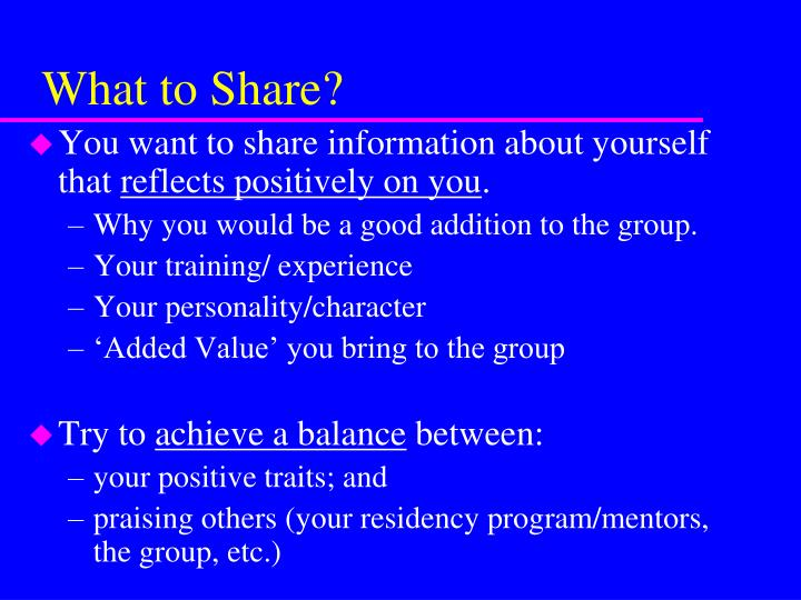 What to Share?
