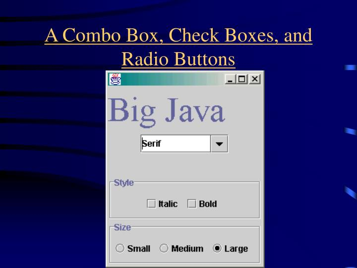 A Combo Box, Check Boxes, and Radio Buttons